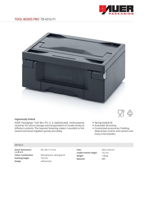 Werkzeug System Koffer Werkzeugkoffer Tool Box Auer Toolbox Pro 60 x 40 x 34